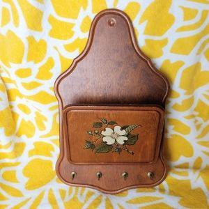 Vintage Wooden Letter Holder w/ Painted Flower